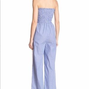 Know One Cares Pants - Know One Cares Smocked Stripe Blue/White Jumpsuit